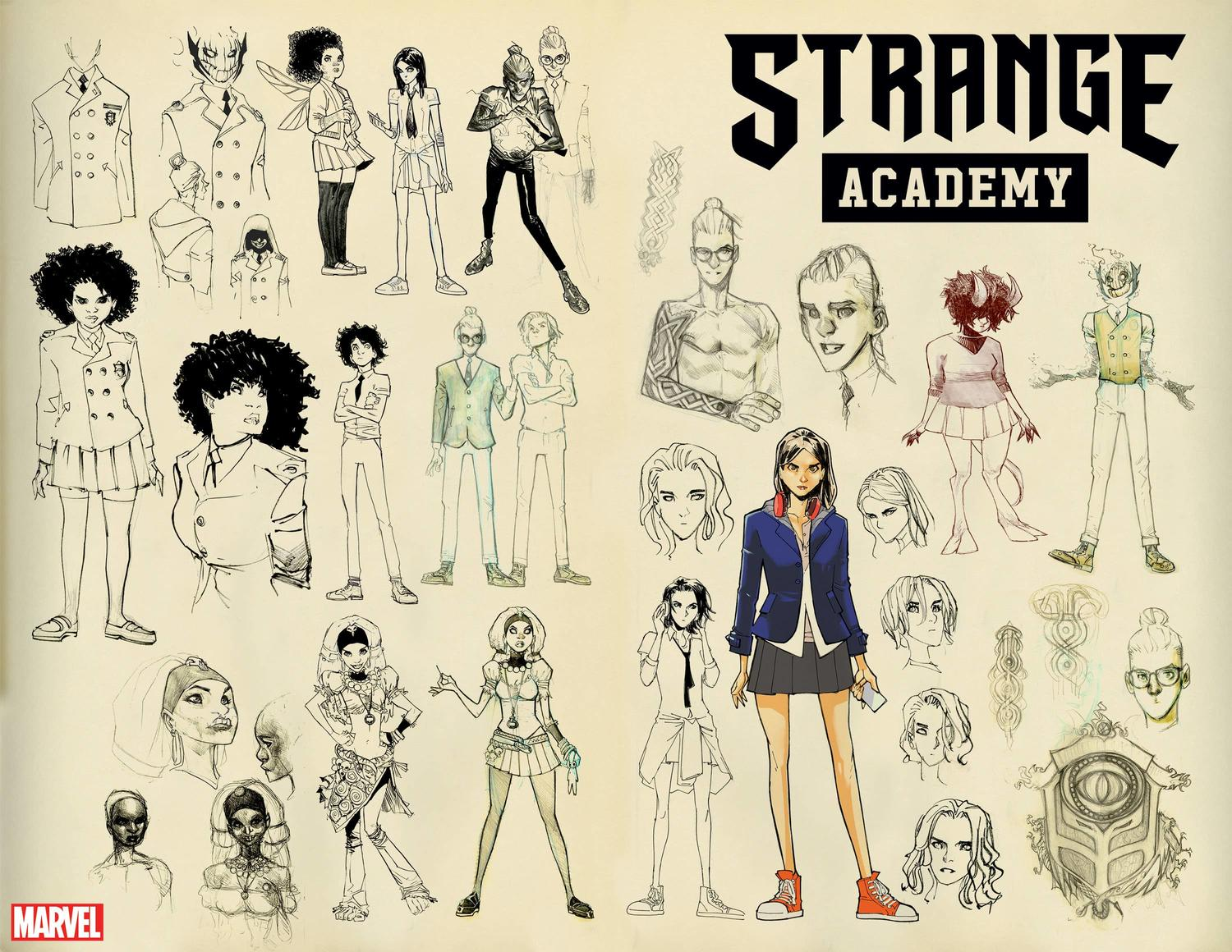 Strange Academy character designs by Humberto Ramos