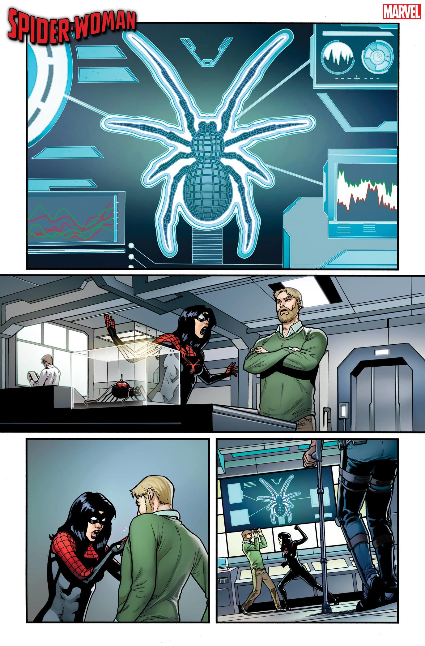SPIDER-WOMAN #3 preview interiors by Pere Pérez with colors by Frank D'Armata