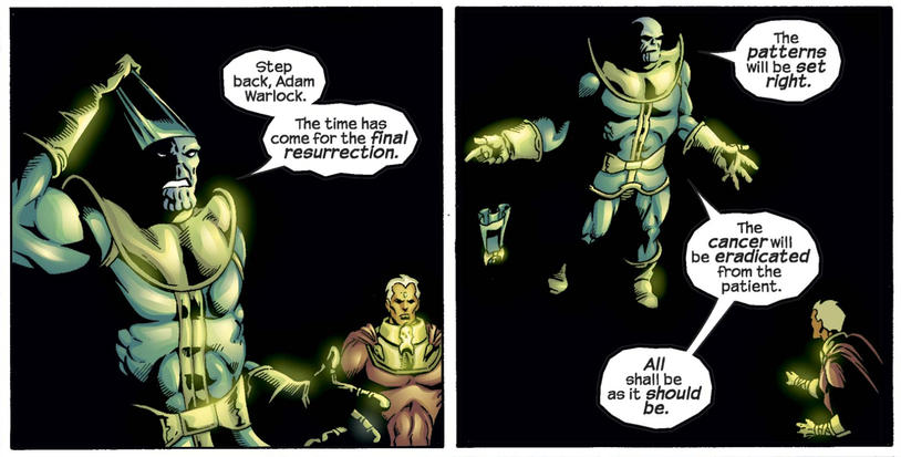 Thanos and Adam Warlock