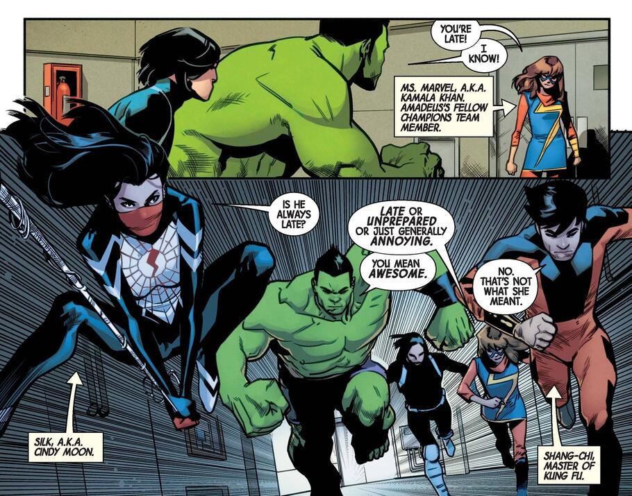 The heroes assemble (and bicker) in THE TOTALLY AWESOME HULK (2015) #15.