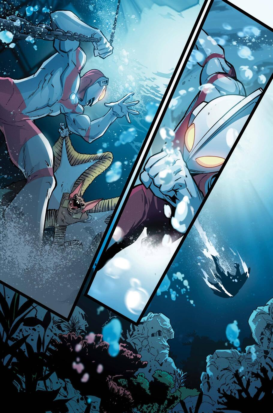 Shin Hayata  fights a monster of the deep in THE TRIALS OF ULTRAMAN (2021) #1.