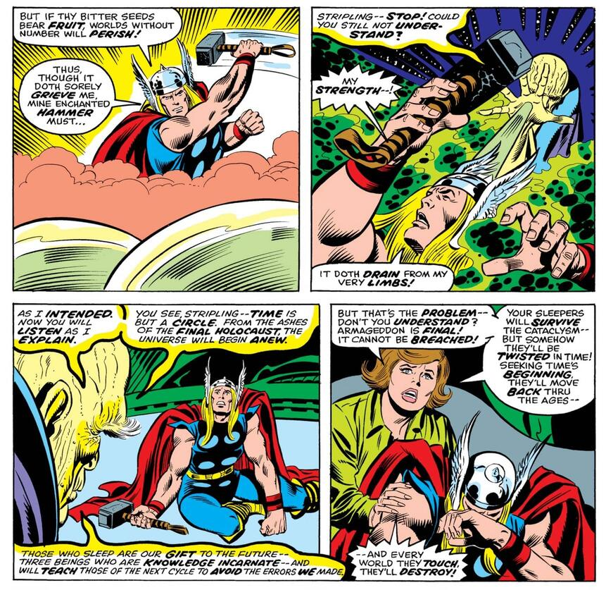 He Who Remains subdues Thor in THOR (1966) #245.