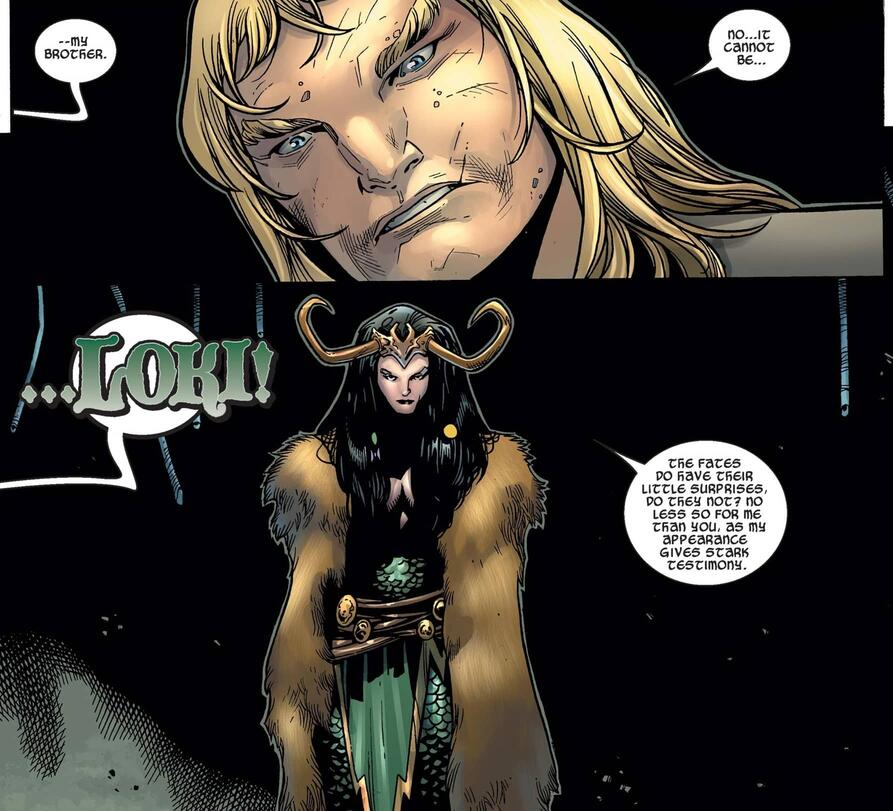 The first appearance of female Loki in THOR (2007) #5.