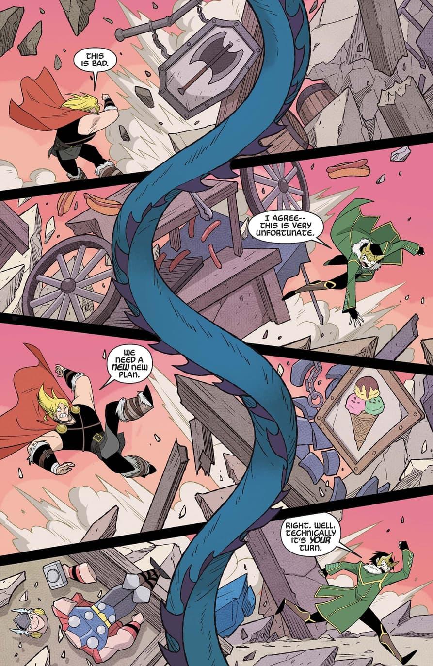 Thor and Loki take on a Midgard Serpent.
