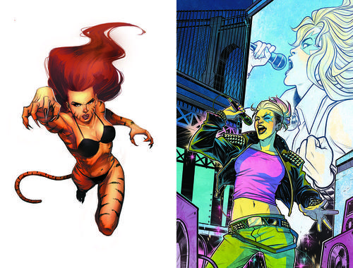 Tigra and Dazzler, as seen in Marvel Comics