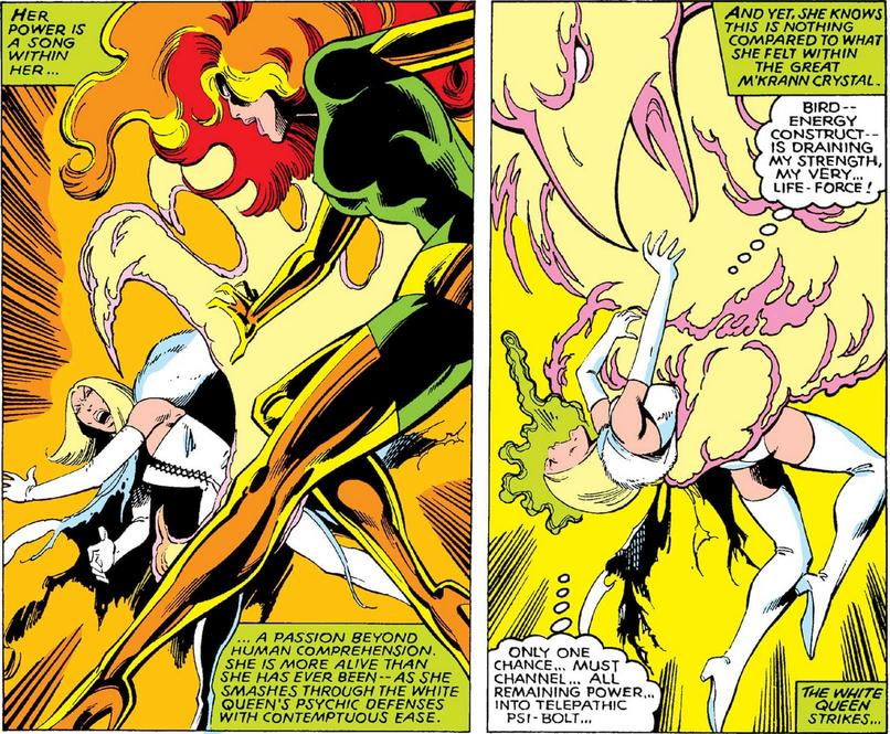 Jean Grey as the Phoenix fights Emma Frost