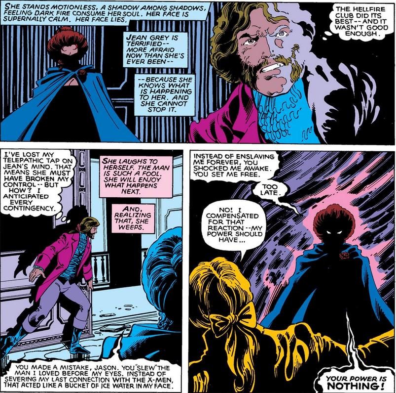 Phoenix as the Black Queen faces Wyngarde