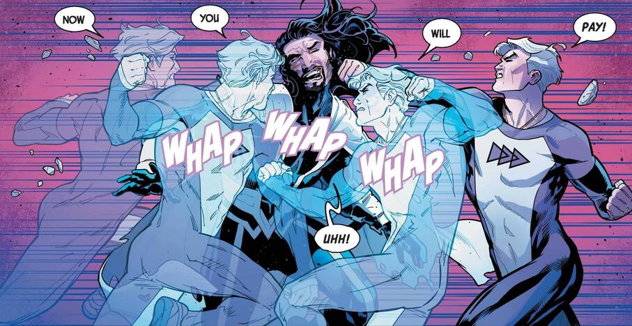 """Quicksilver using his """"speed punch"""" in UNCANNY AVENGERS (2015) #27."""