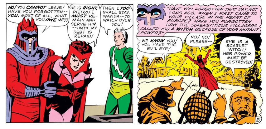Magneto uses bullying and pressure to keep Wanda and Pietro in his ranks.