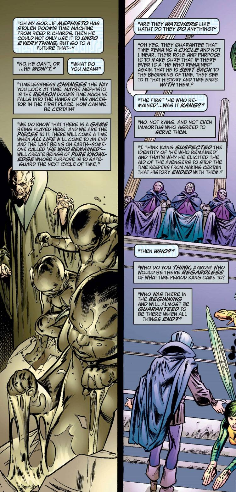 The true identity of He Who Remains is hinted at in UNIVERSE X (2000) #9.