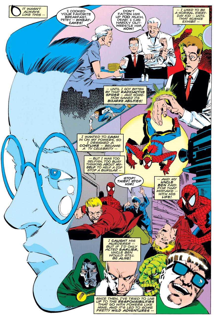 Peter Parker reflects on his heroic origin.