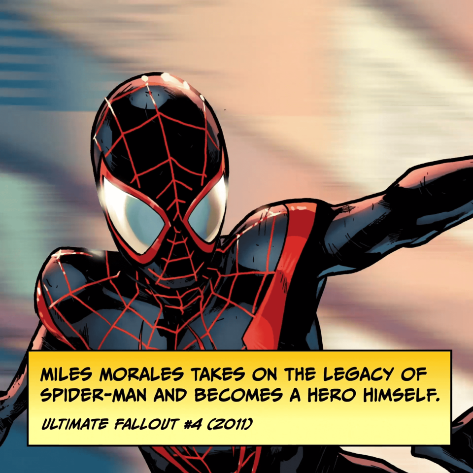 Miles Morales takes on the legacy of Spider-Man and becomes a hero himself. ULTIMATE FALLOUT #4 (2011)
