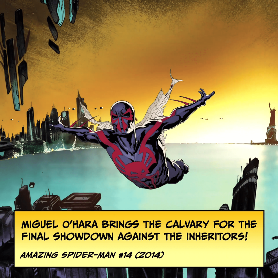 Miguel O'Hara brings the cavalry for the final showdown against the Inheritors! AMAZING SPIDER-MAN #14 (2014)