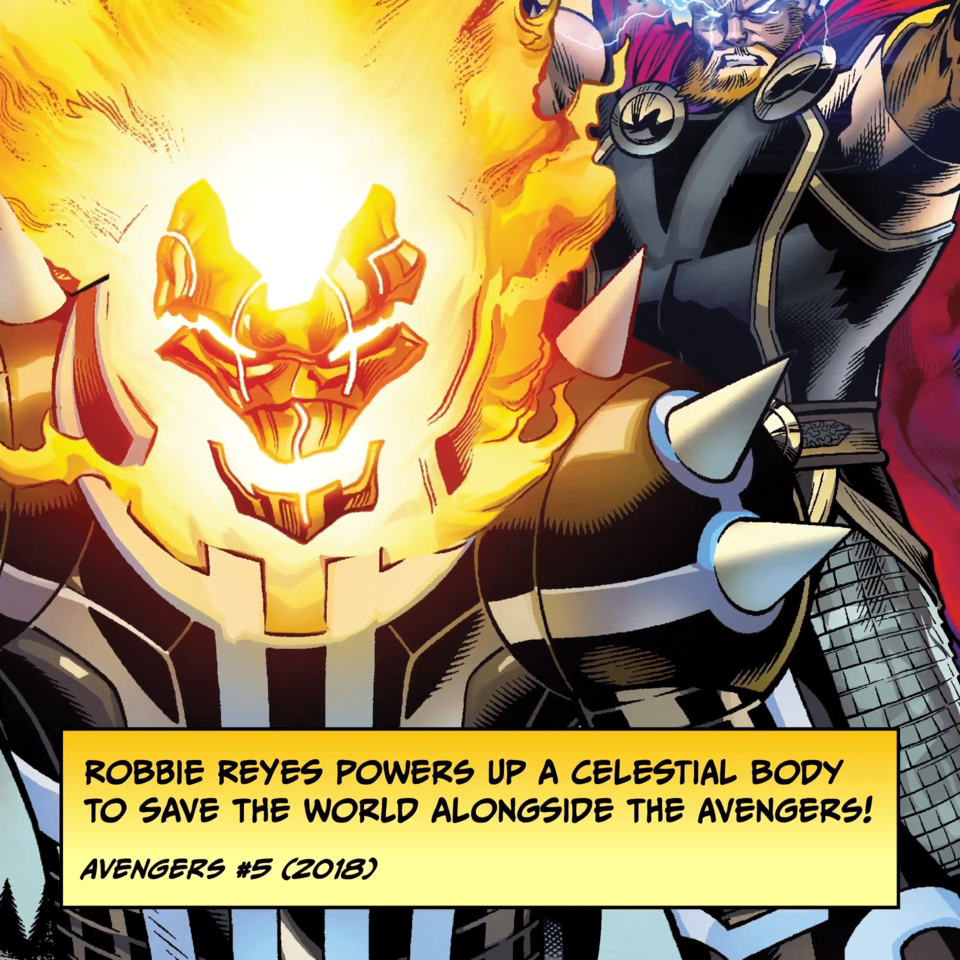 Robbie Reyes powers up a celestial body to save the world alongside the Avengers! AVENGERS #5 (2018)
