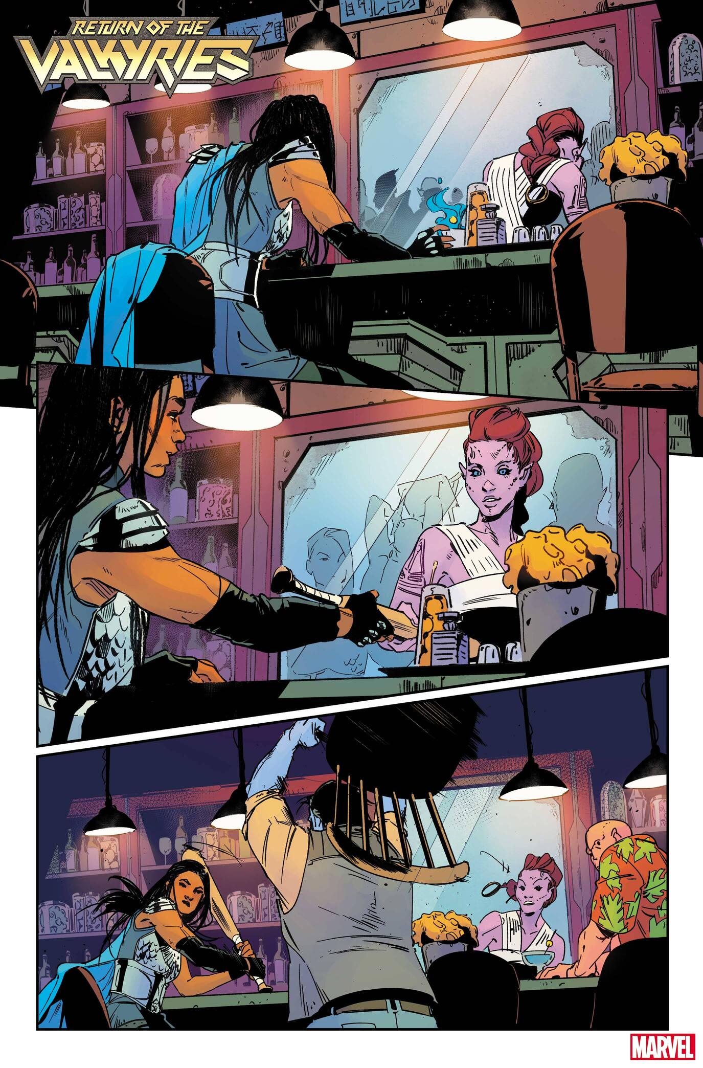 KING IN BLACK: RETURN OF THE VALKYRIES #1 preview interiors by Nina Vakueva with colors byTamra Bonvillain