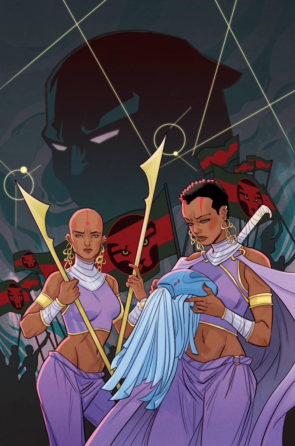 Variant Cover to BLACK PANTHER: WORLD OF WAKANDA (2016) #2 by artist Marguerite Sauvage.