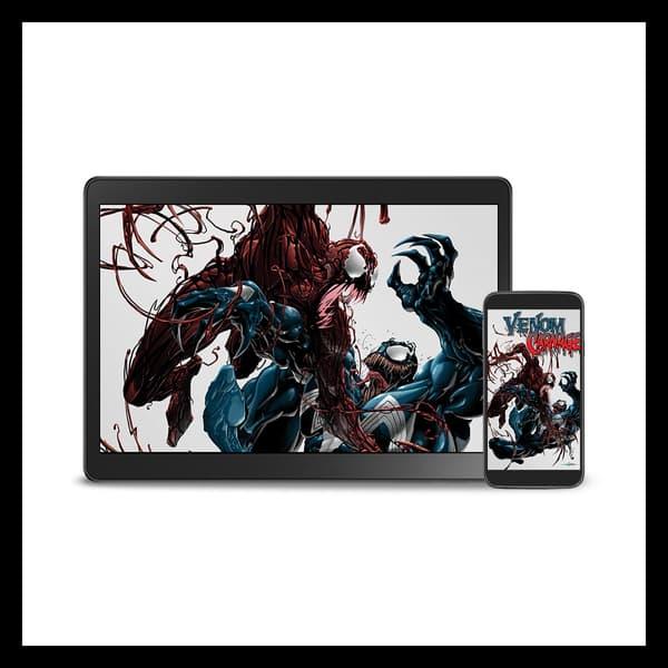 Marvel Insider FEATURED REWARDS Digital Wallpaper Venom vs Carnage (2004) by Artist Clayton Crain