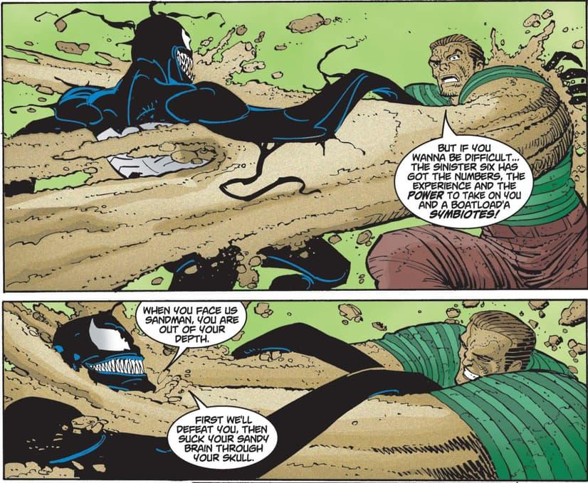 Venom battles Sandman