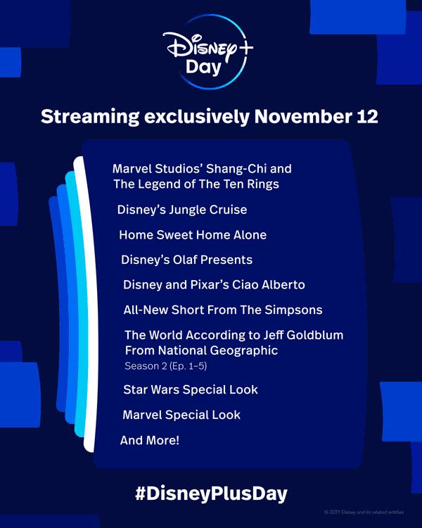 Disney+ Day Lineup