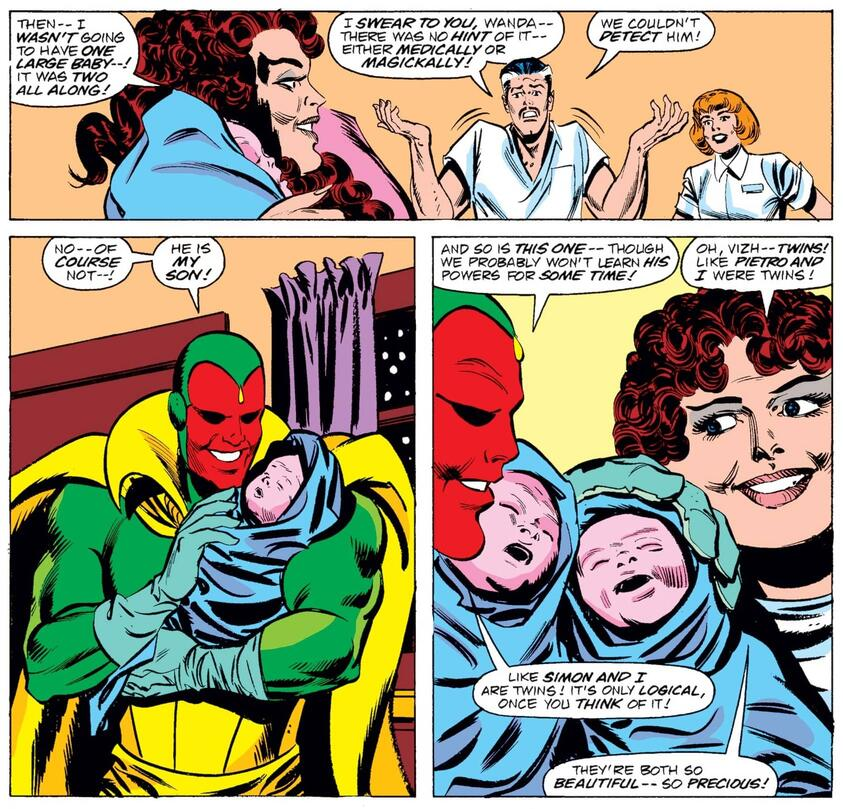 It's twins in VISION AND THE SCARLET WITCH (1985) #12!