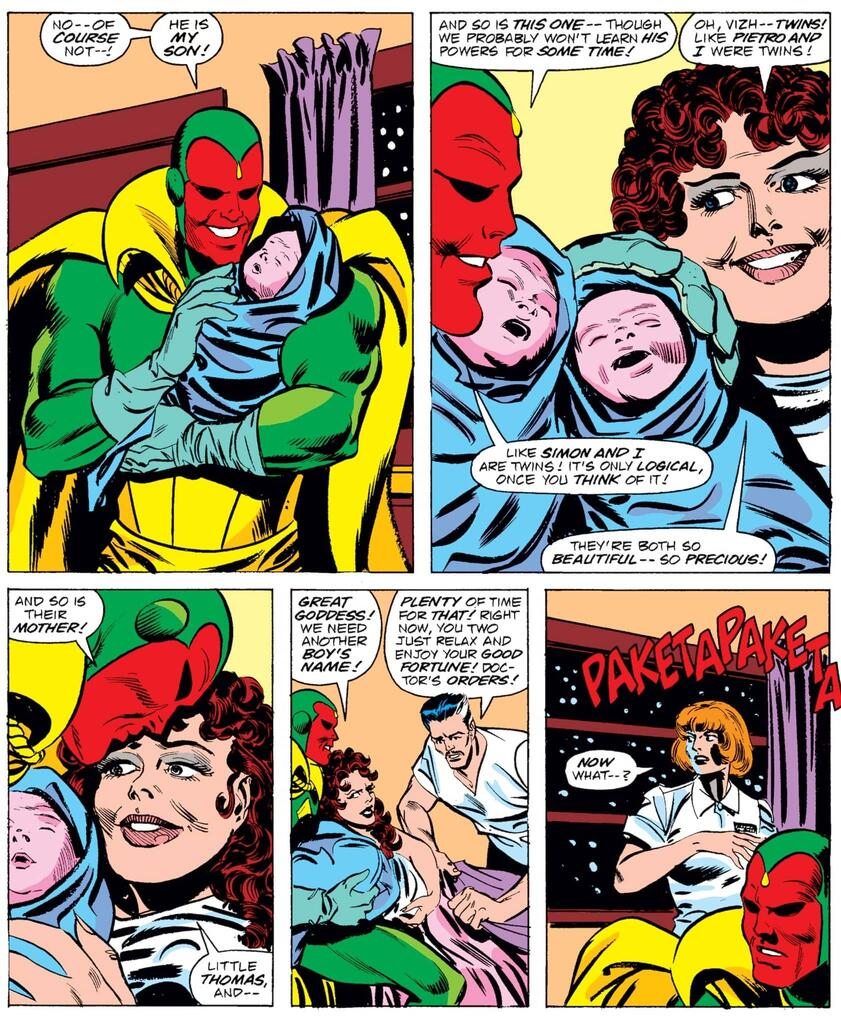 The twins arrive in VISION AND THE SCARLET WITCH (1985) #12.
