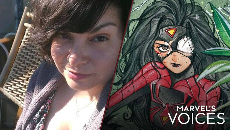 Karla Pacheco and Spider-Woman with Marvel's Voices Logo
