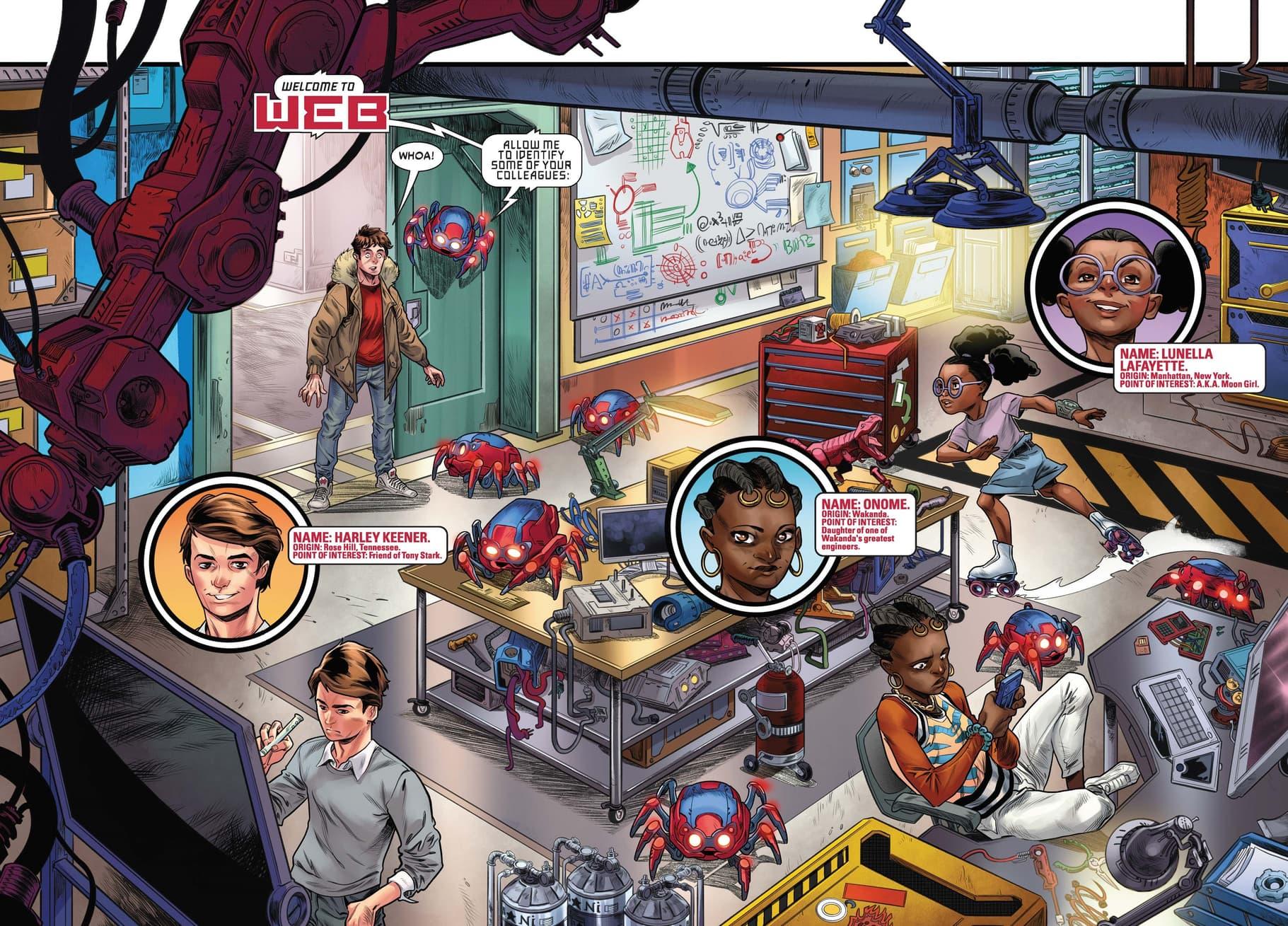 Meet the students of W.E.B. in W.E.B. OF SPIDER-MAN (2021) #1.