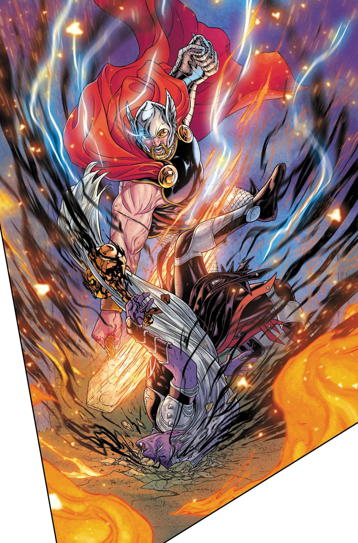 War of the Realms #6 Thor punching Malekith