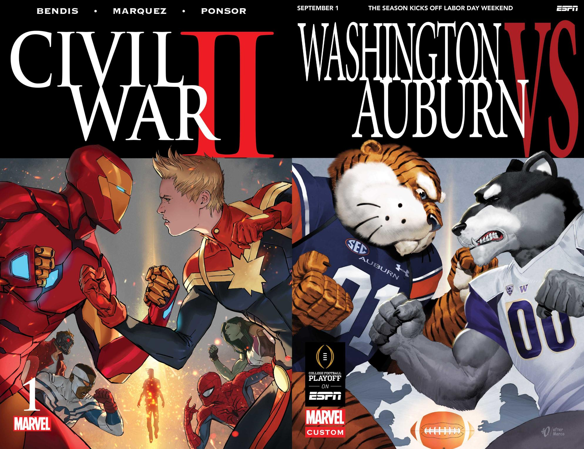 Washington vs Auburn mascot cover