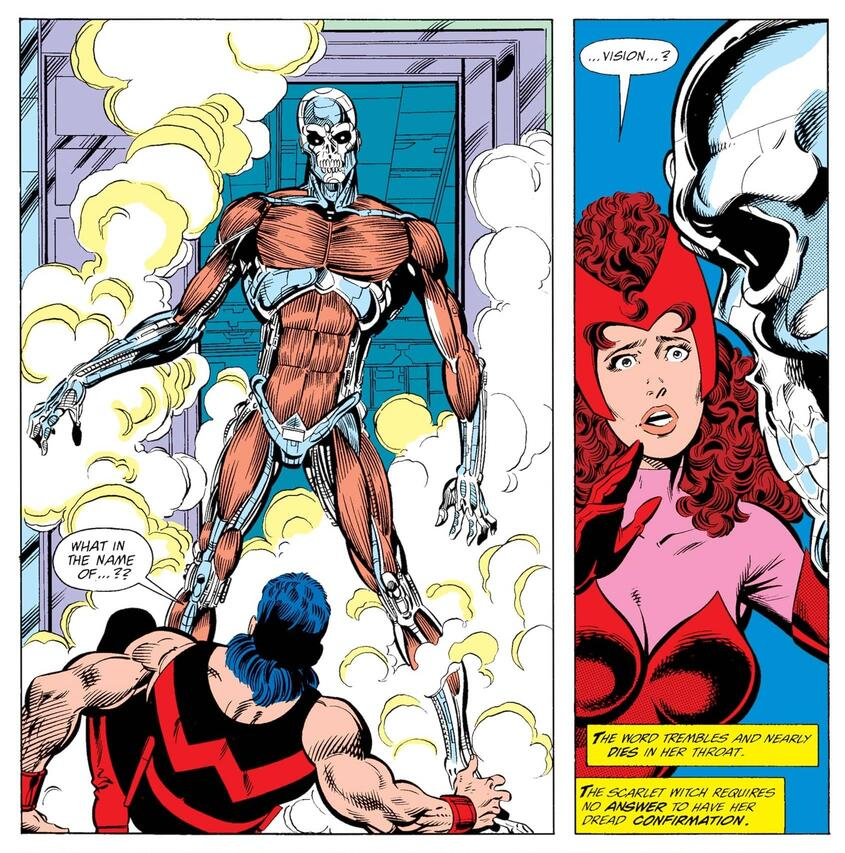 The Vision partially rebuilt in WEST COAST AVENGERS (1985) #44.