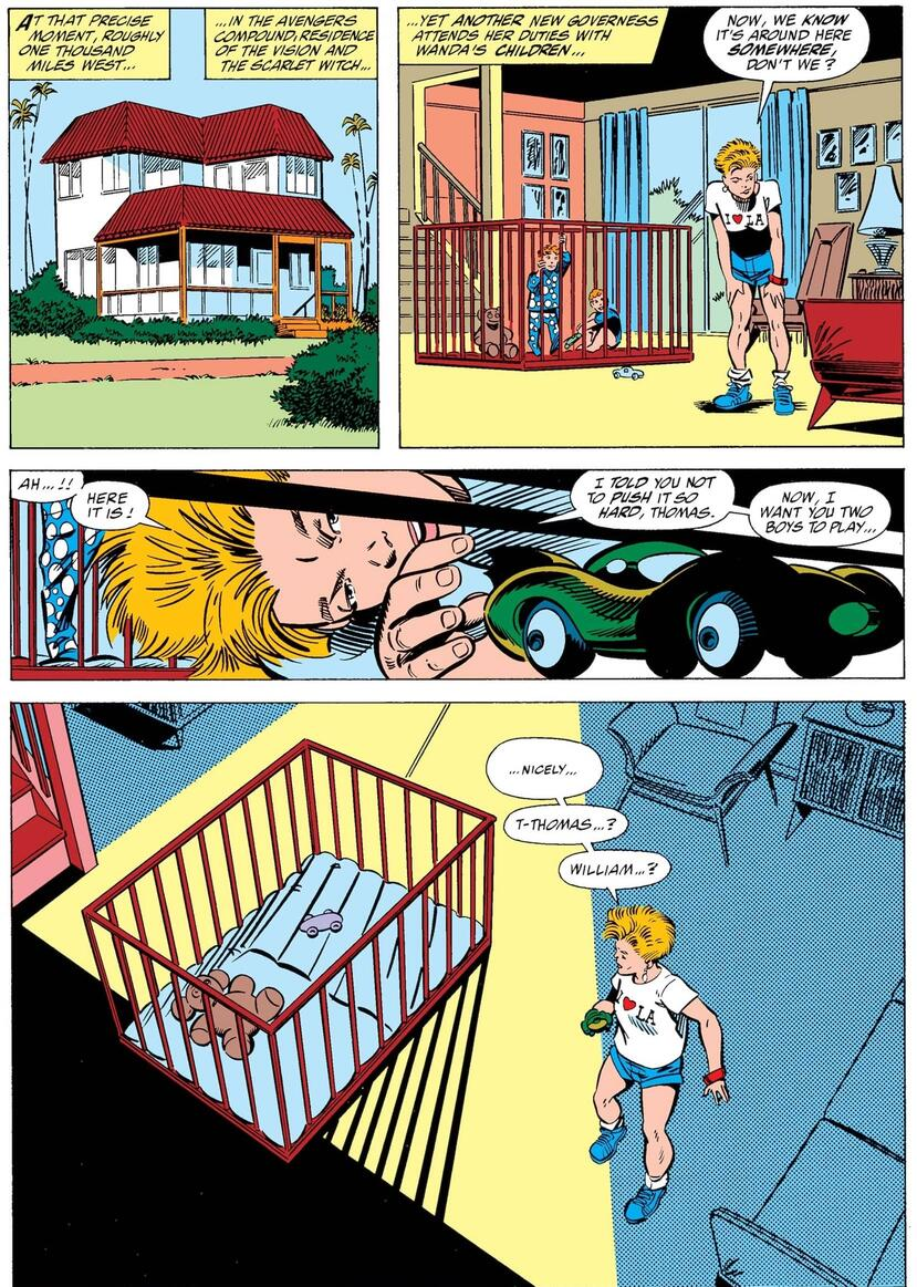 The twins disappear in WEST COAST AVENGERS (1985) #47.