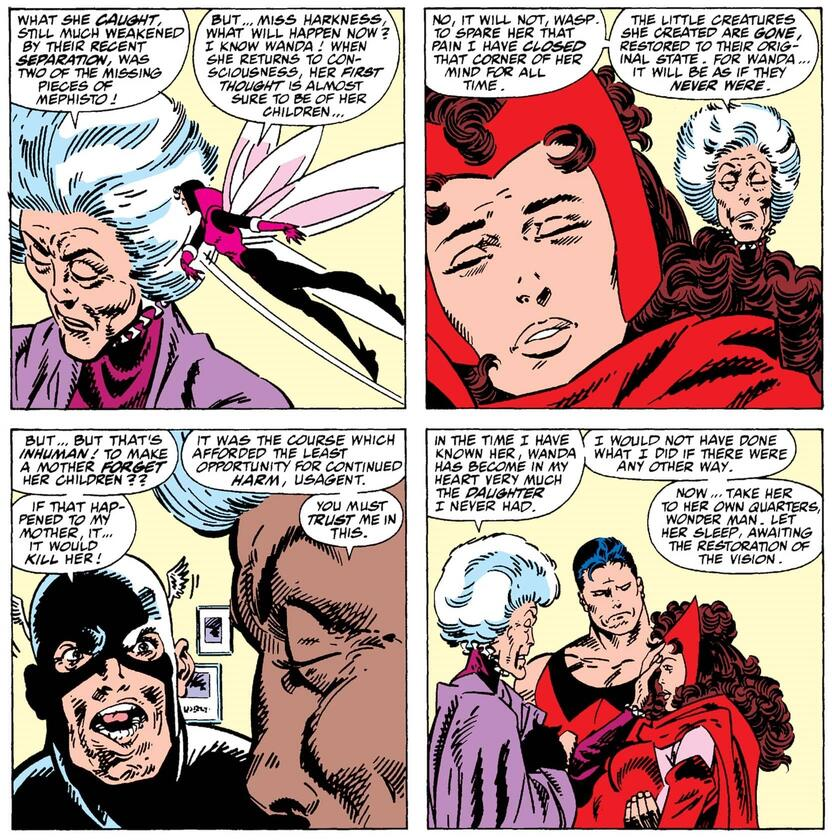 A revelation by Agatha Harkness in WEST COAST AVENGERS (1985) #52.