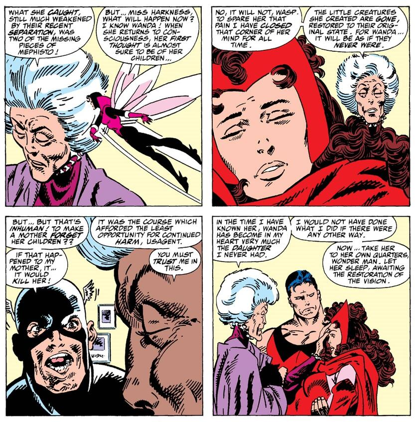 Agatha erases the twin from Wanda's memory in WEST COAST AVENGERS (1985) #52.
