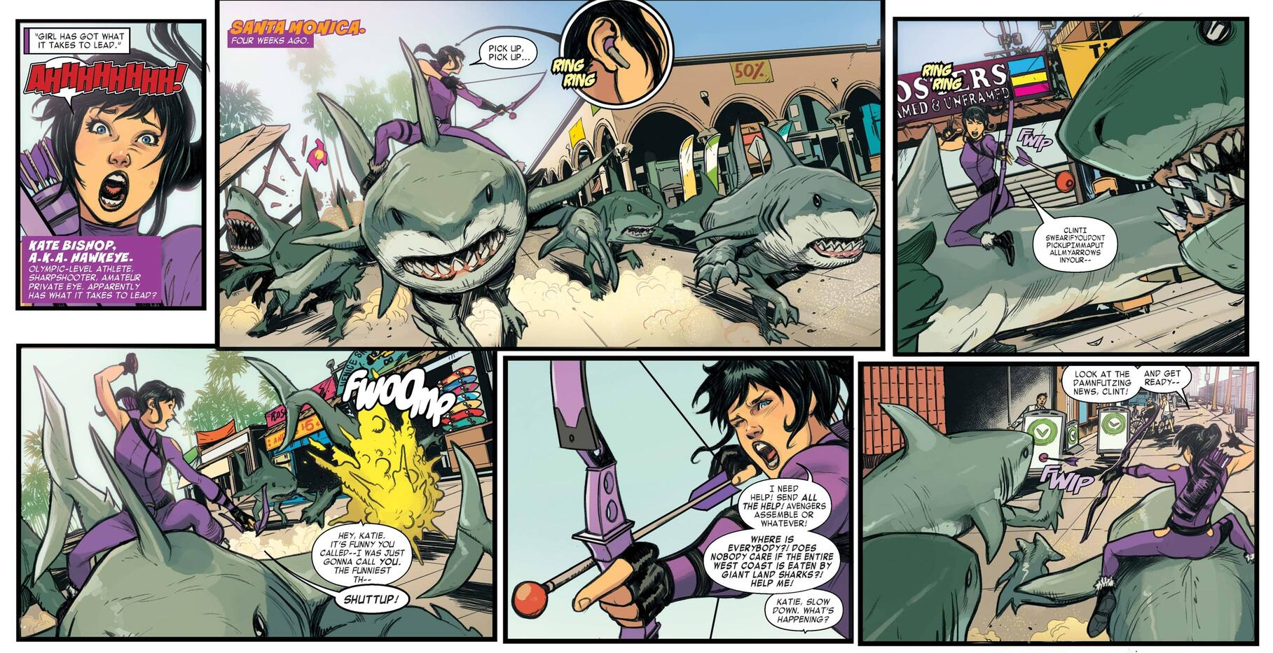 Kate versus land sharks in WEST COAST AVENGERS (2018) #1.