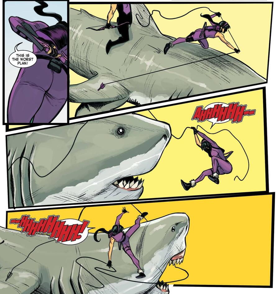 Kate corralling some land sharks in WEST COAST AVENGERS #1.