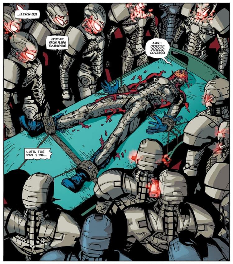 Hank Pym is terrorized by Ultron.