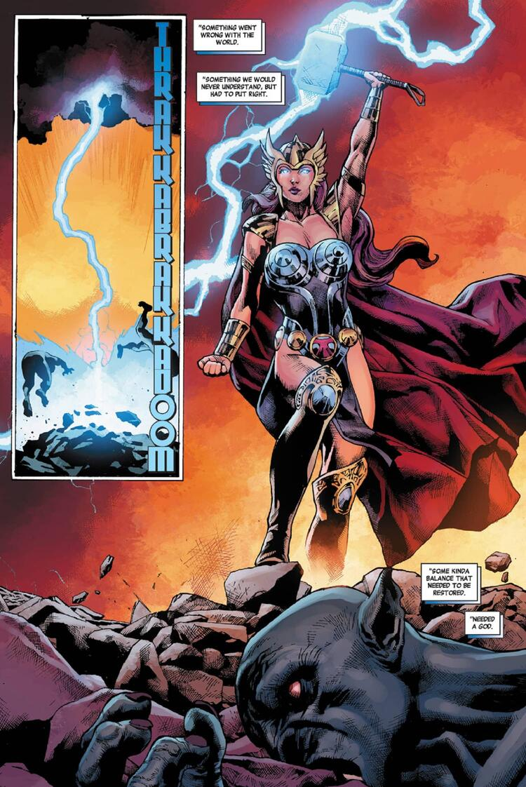 Black Widow takes the hammer of Thor and becomes a god of thunder.