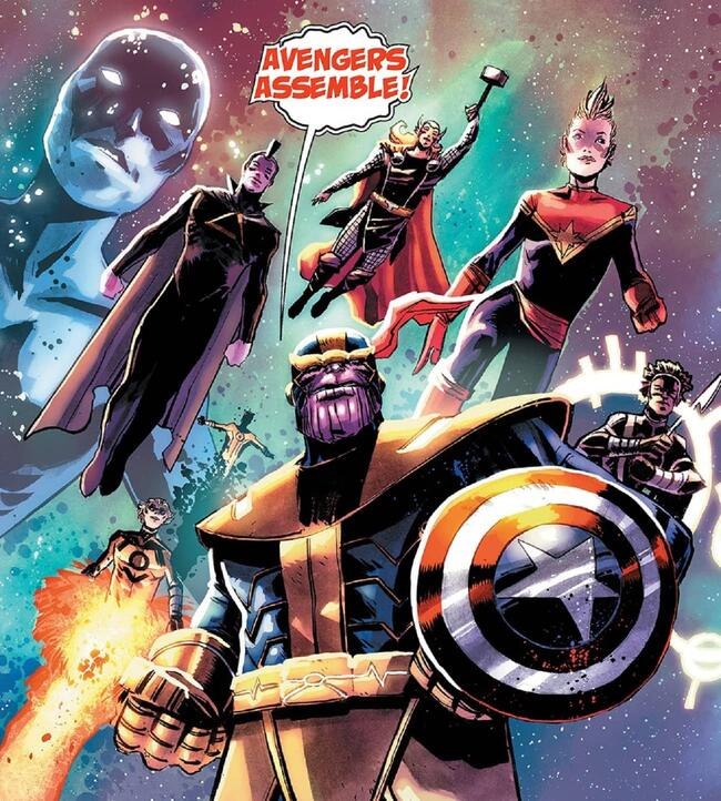 Thanos leads the Avengers with Captain America's shield in WHAT IF? INFINITY- THANOS (2015) #1.