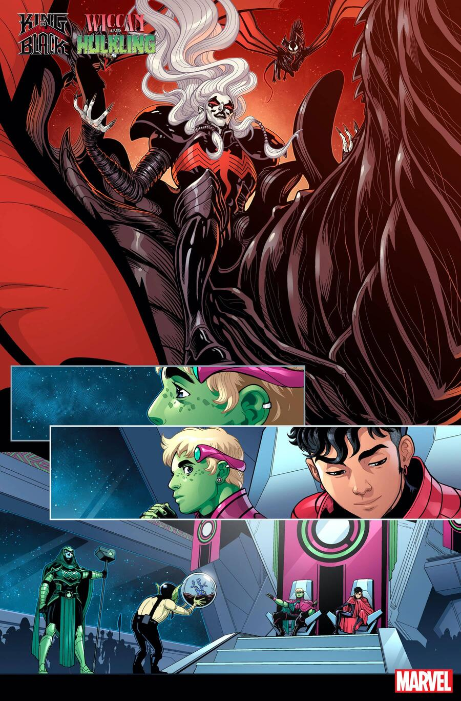 KING IN BLACK: WICCAN AND HULKLING #1 preview art by Luciano Vecchio with colors by Espen Grundetjern
