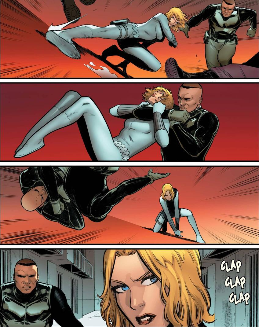 Yelena gets a drop kick on her enemies in WIDOWMAKERS: RED GUARDIAN AND YELENA BELOVA (2020) #1.