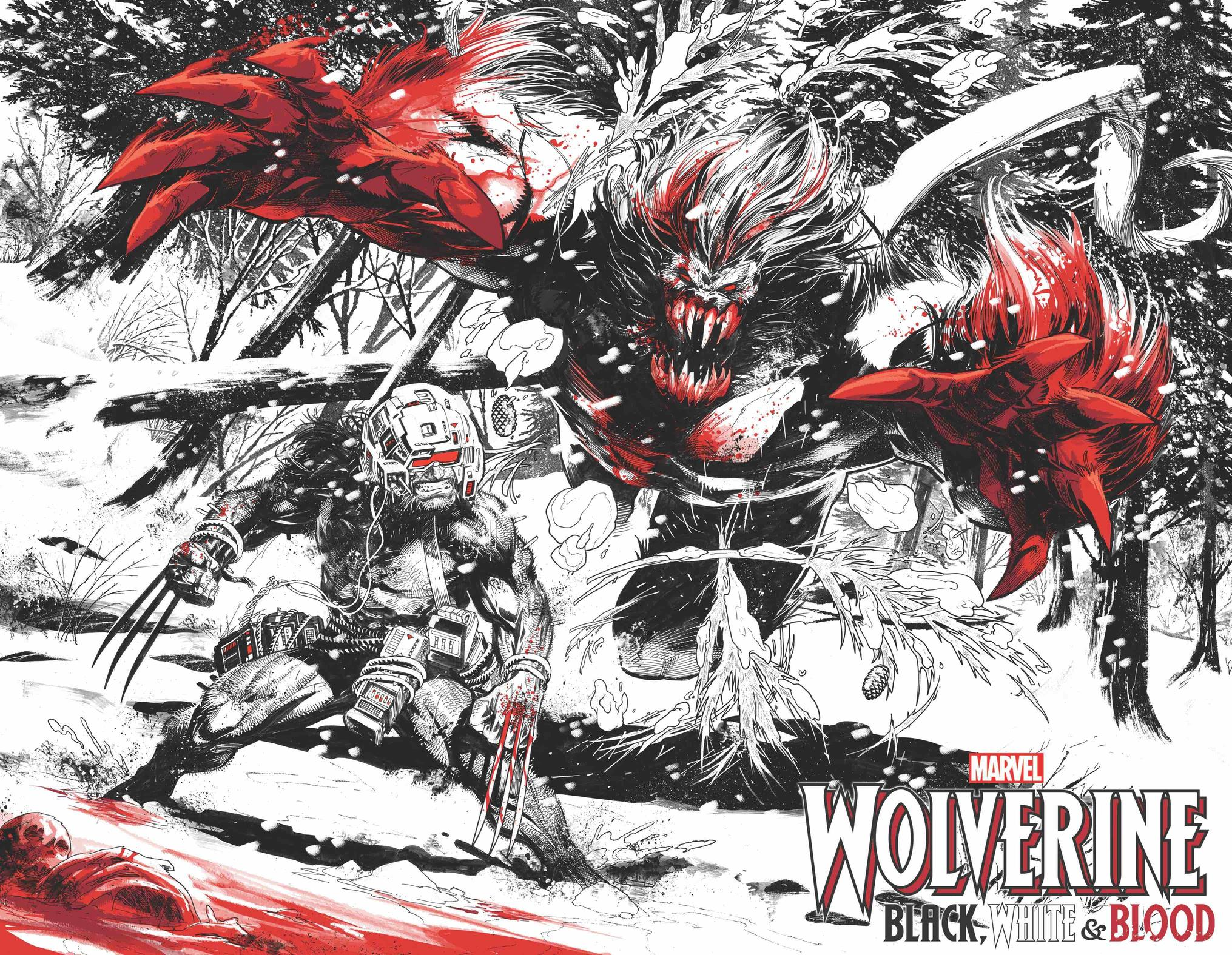 WOLVERINE: BLACK, WHITE & BLOOD #1 preview interiors by Adam Kubert and Frank Martin