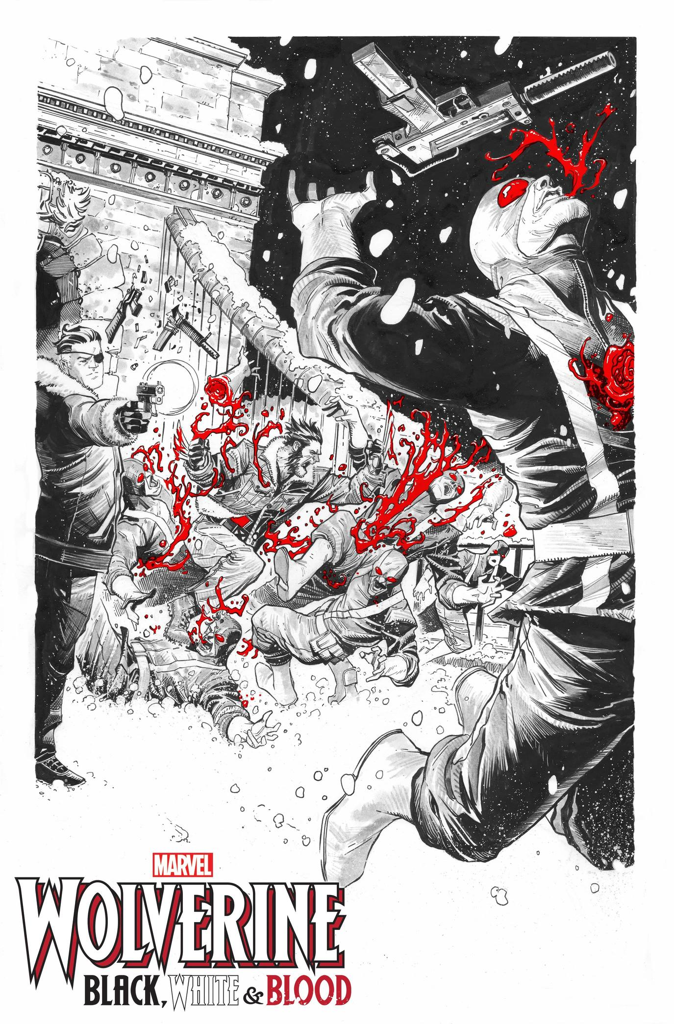 WOLVERINE: BLACK, WHITE & BLOOD #1 preview interiors by Joshua Casssara and GURU-EFX