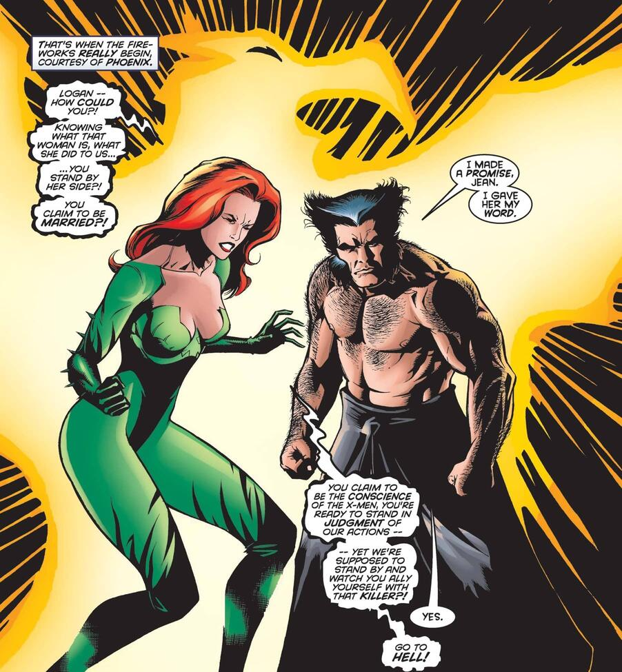 Informing the dearly beloved in WOLVERINE #126.