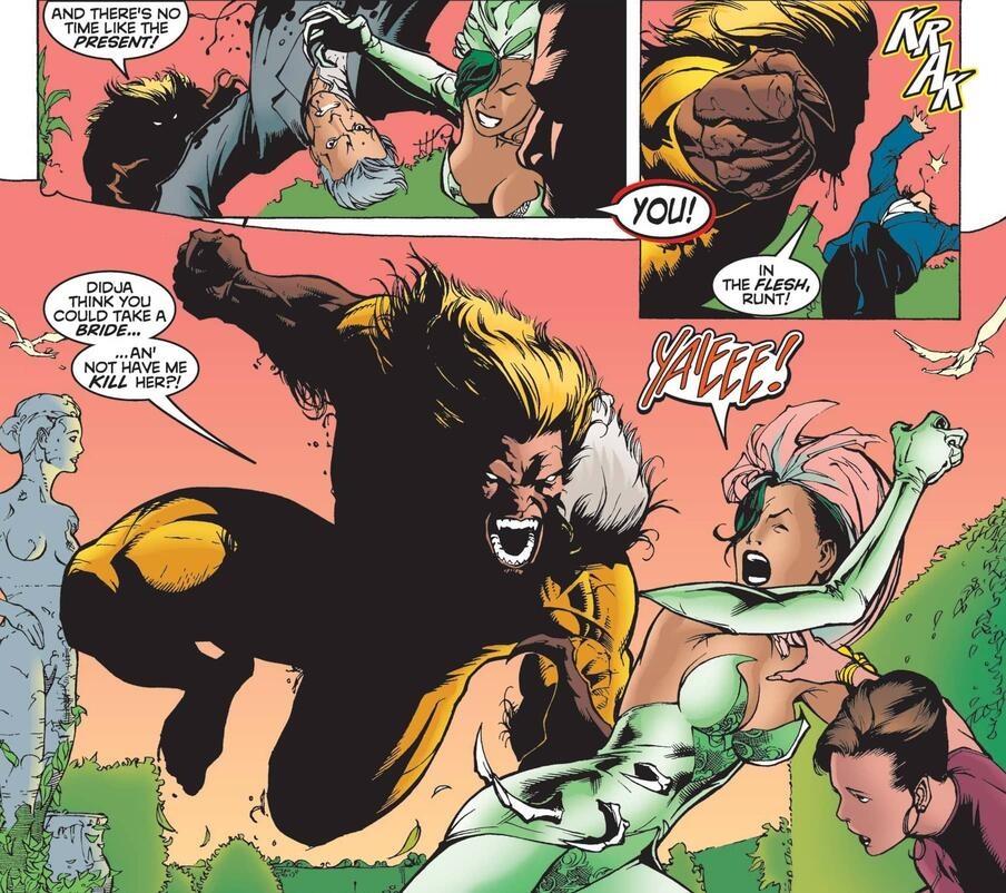 Sabretooth crashes Wolverine's wedding to Viper.