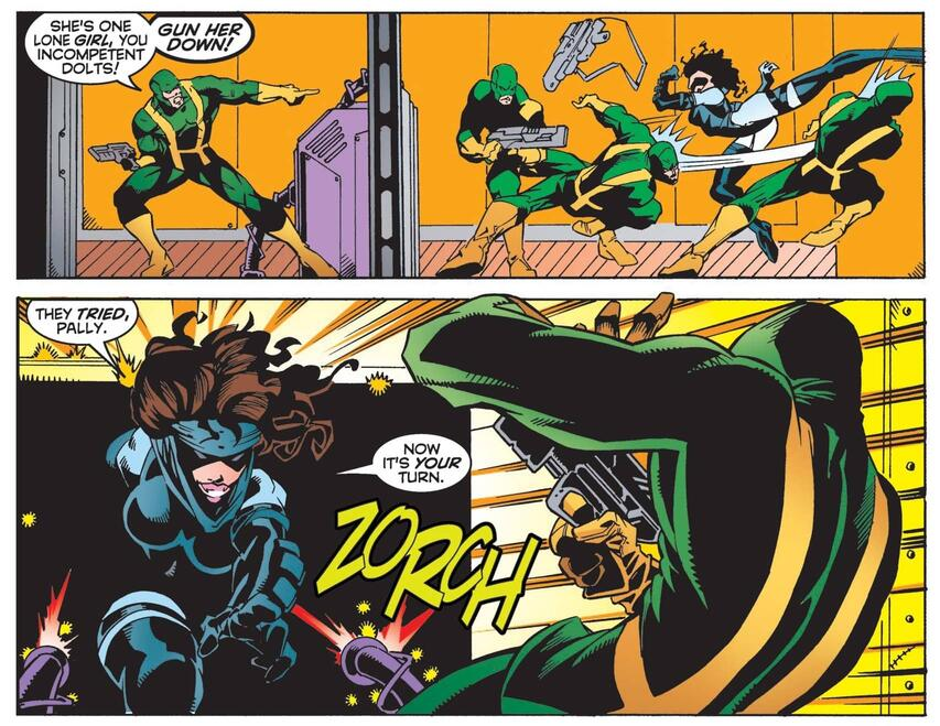 Kitty Pryde's Sabretooth makeover in WOLVERINE #128.