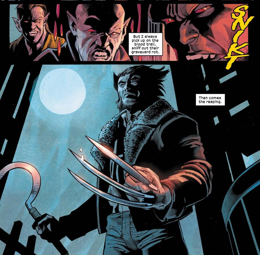 Wolverine enters a stronghold of vampires mid-feed.