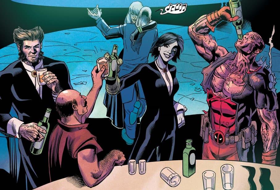 Deadpool and X-Force enjoy the festivities.