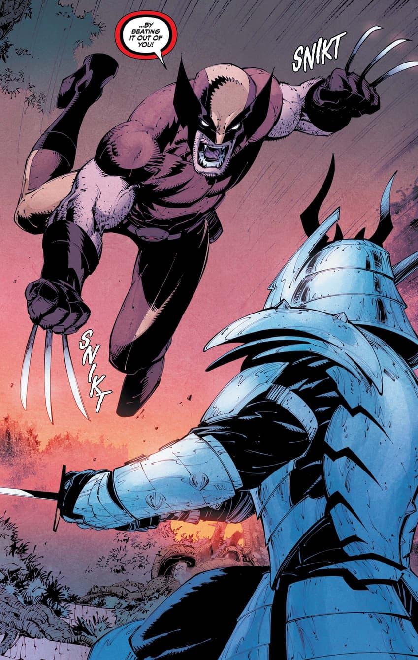Wolverine versus Silver Samurai.