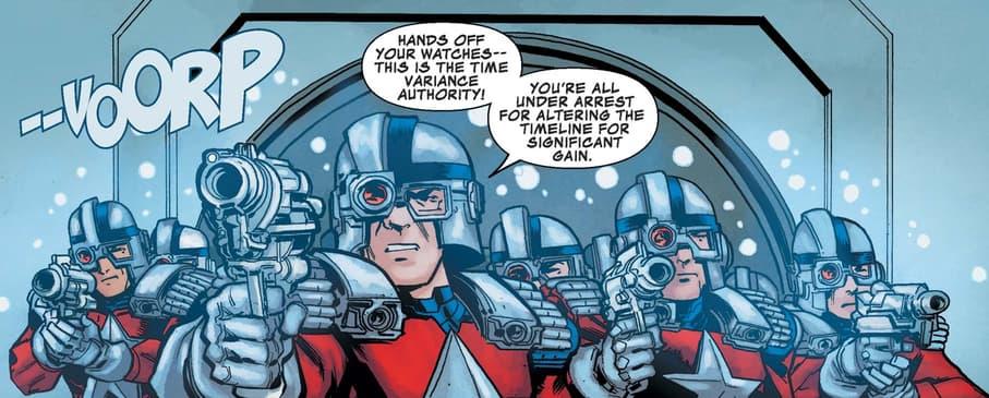 The Minutemen hunt down Wolverine in WOLVERINE: INFINITY WATCH (2019) #4.
