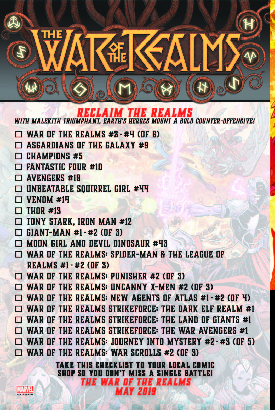 War of the Realms May Checklist